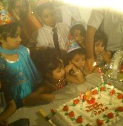 The image of Raha's birthday party at Gulshun, button rose, Dhaka, Bangladesh