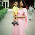 Julie and her son in front of Bangladeshi Museum